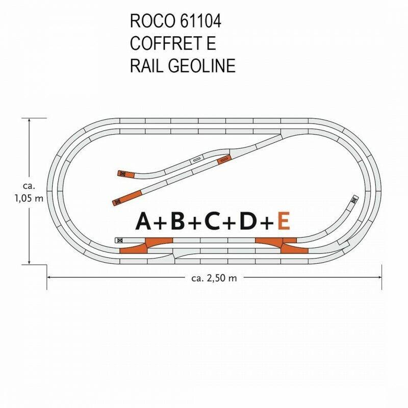 Coffret de rails Geoline E -HO-1 87-ROCO 61104