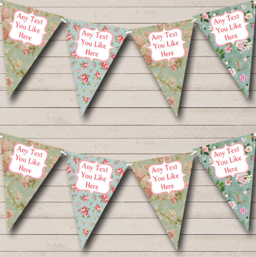 Shabby Chic Floral Blue Greens Personalised Birthday Party Bunting Banner