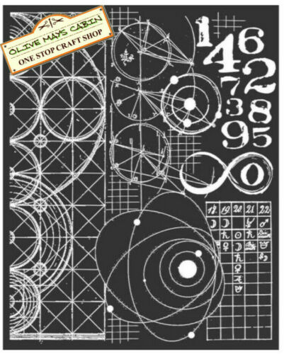 Stamperia Mixed Media Art Stencil Cosmos Astronomy and Numbers  NEW   20 x 25 cm
