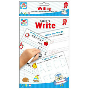 LEARN TO WRITE - Spelling Writing & Reading x20 Wipe-Clean Worksheets with Pen