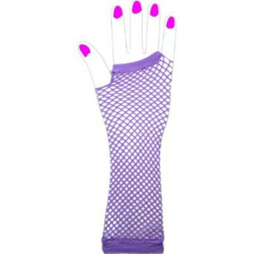1 Pair Of Long Neon Fingerless Fishnet Gloves Fancy Dress