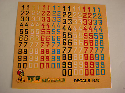 DECALS KIT 1//43 NUMERI mm 4-5  NERI BIANCHI  F1 24h LE MANS RALLY DECAL