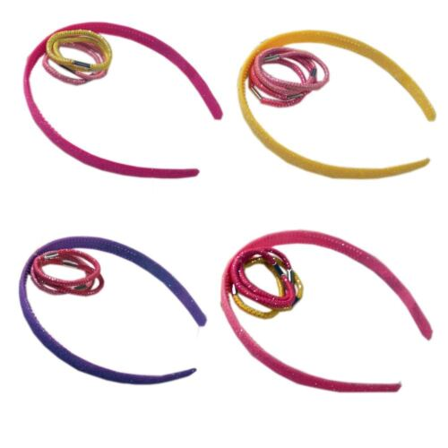 5pc Girls Back to School Hair Accessory Set Alice Band Elastics Various Colours