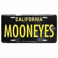 Mooneyes Black And Yellow License Plate California Hot Rods Custom Nhra Scta