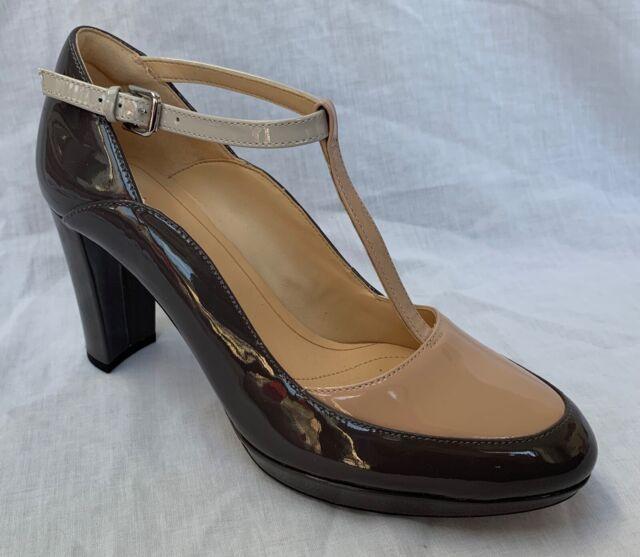 BNIB Clarks Ladies Kendra Daisy Grey Combi Patent Leather T Bar Heeled Shoes