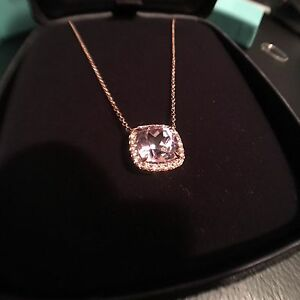 Tiffany soleste pink kunzite pendant with diamond halo 18k rose tiffany soleste pink kunzite pendant with diamond halo mozeypictures Gallery