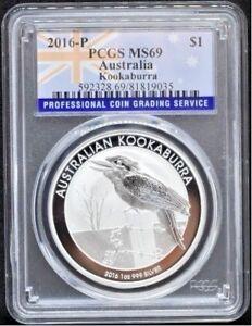 Kookaburra-Australia-1-oz-Silver-PCGS-MS69-Flag-Label-2016