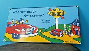 VINTAGE-MICKEY-MOUSE-SUNOCO-GASOLINE-PORCELAIN-GAS-AUTO-STATION-WALT-DISNEY-SIGN