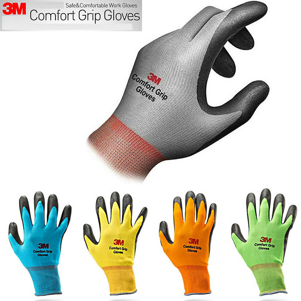 3M Comfort Grip Gloves General Use S M L Size 6 Pair 3M Safety Gardening Mechanic Construction Work Gloves