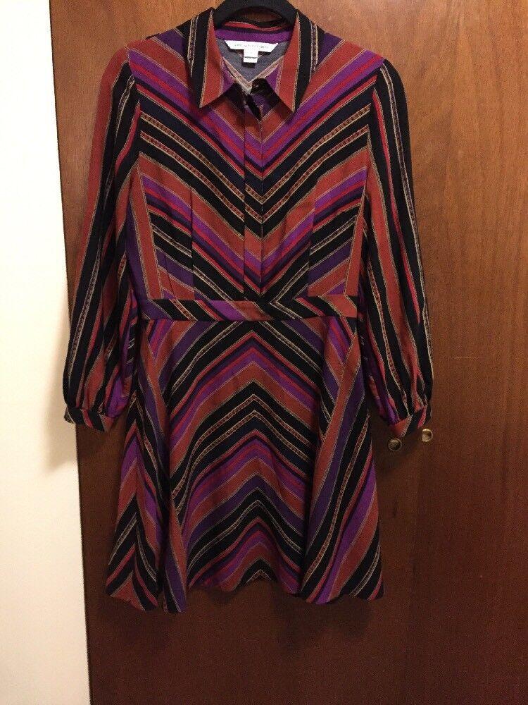 Diane von Furstenberg Womens Silk And Wool Long Long Long Sleeve Dress Size  8 073a19