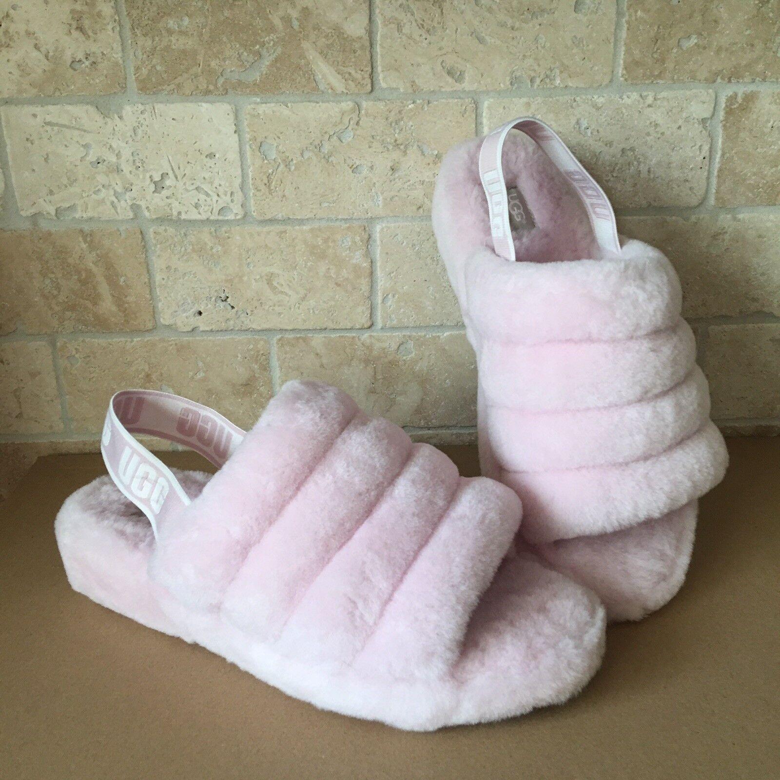 7287494aa6e UGG Fluff Yeah Slide Seashell Pink Sheepskin Slingback Slippers Size US 12