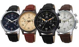 Men-039-s-Joshua-amp-Sons-Quartz-24-Hour-Luminescent-Hands-Markers-Ridged-Strap-Watch