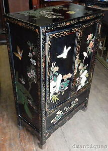 Vintage Chinese Black Lacquer 2 Door Cabinet Painted Birds