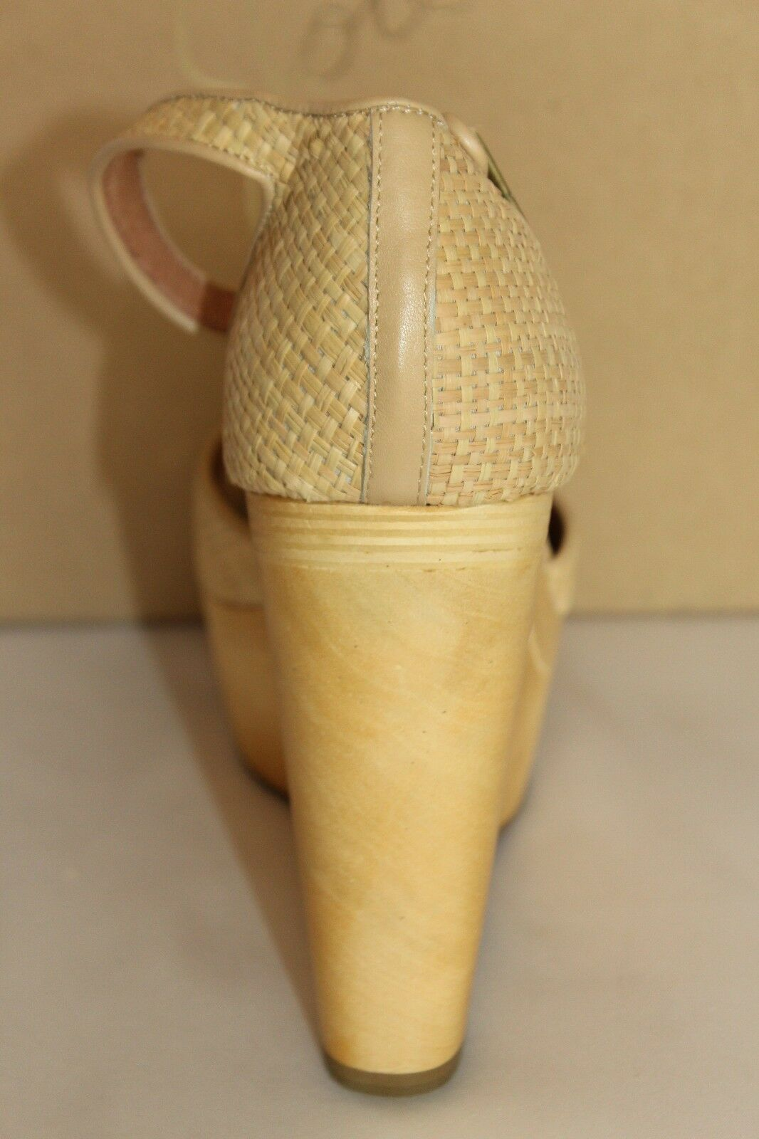 NEW    NIB JOIE Anthropologie WEBER Natural Straw Wood Wedge Sandale EU39 EU40 245 59b9b1