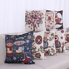 "New 18"" Vintage Linen Owl Birds Throw Pillow Case Sofa Home Decor Cushion Cover"