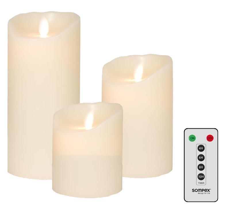 3er set  sompex FLAME LED Bougies Ivoire 10cm, 12,5cm, 18cm avec télécommande