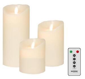 3er set sompex flame led kerzen elfenbein 10cm 12 5cm 18cm mit fernbedienung ebay. Black Bedroom Furniture Sets. Home Design Ideas