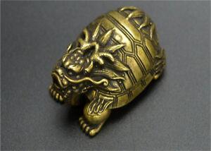 Small and beautiful Chinese Pure brass Turtle back monkey small statue