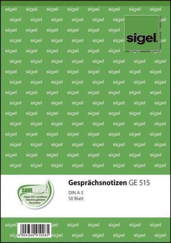"50 Blatt A5 sigel Formularbuch /""Gesprächsnotiz/"""