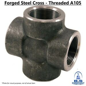 """CROSS 2-1/2"""" 3000# 3M A105 Threaded NPT Forged Carbon Steel Pipe Fitting"""