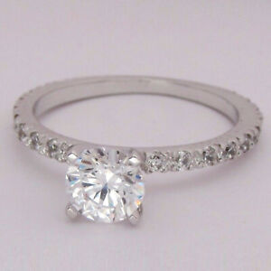 1.40 Ct Solitaire Moissanite Engagement Ring 18K Solid White Gold ring Size 6
