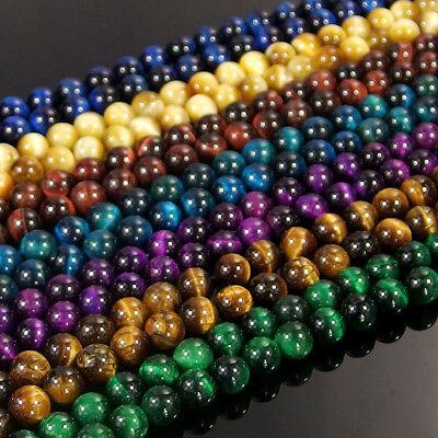 "Multi Color Tiger/'s Eye Jasper Stone Beads 4mm 6mm 8mm 10mm 12mm 14mm 16mm 15.5/"""
