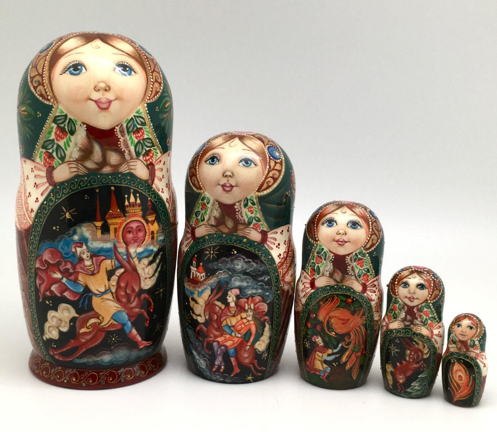 Ruso cuento de hadas  Firebird  Anidación Muñeca Tallada a Mano Pintado A Mano Firmado