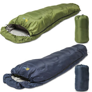 SUNMER 4 Season Extra Warm Mummy Single Sleeping Bag Camping 400GSM