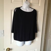 Chicos Knit Kit Ink ( Navy ) Cold Shoulder East West Top Size 1