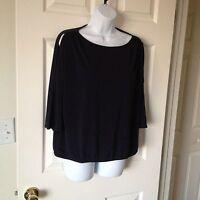 Chicos Knit Kit Ink ( Navy ) Cold Shoulder East West Top Size 0