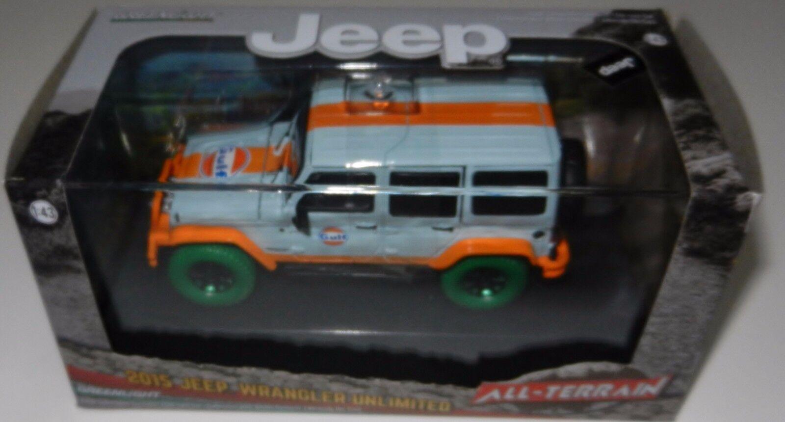 Greenlight 86089 86089 86089 2015 Jeep Wrangler Gulf Oil w Off-Road Bumpers 1 43 Scale CHASE ce197e