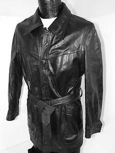 Vtg DEMIAN Ltd Men BLACK REVERSIBLE Leather Jacket BELTED Suede MoD Coat S 38
