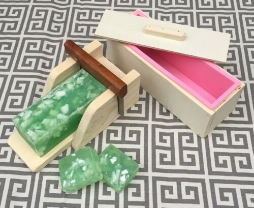 1 Wooden Soap Mold w Silicone Liner and 1 Wooden Soap Cutter Box w Cutter