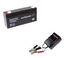 Ladegerät Ansmann + Blei-Gel Multipower Akku MP3.3-6 AGM 6V 3,3Ah Accu Batterie