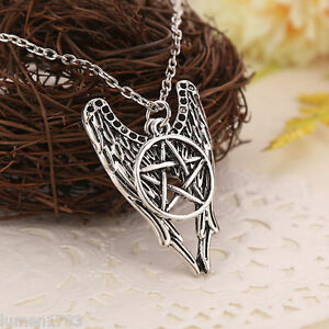 Castiel wings supernatural amulet pentagram pendant necklace sam image is loading castiel wings supernatural amulet pentagram pendant necklace sam aloadofball Gallery