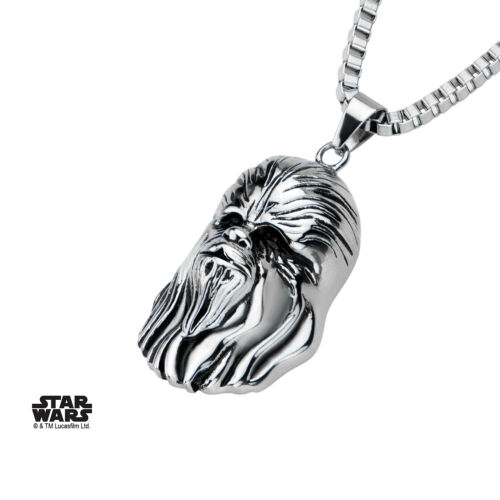 STAR WARS CHEWBACCA HEAD 3D STAINLESS STEEL PENDANT ON CHAIN NECKLACE