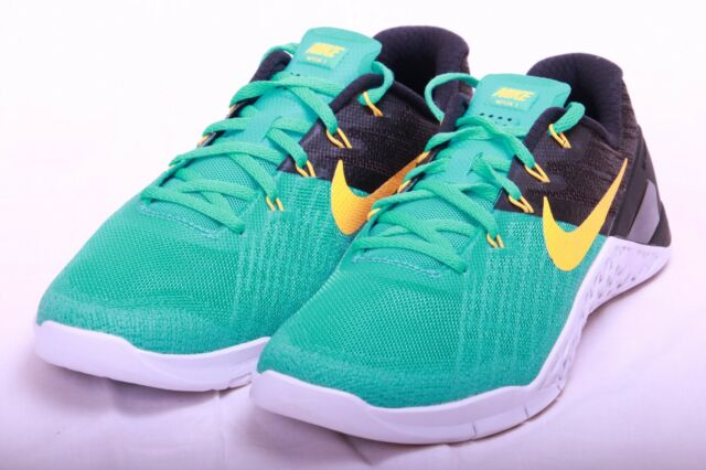 9ea71e922ca1 Nike Mens Metcon 3 Training Shoes Clear Jade Orange-Black 852928 300 Sz 8