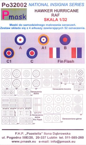 Model Maker 1//32 HAWKER HURRICANE INSIGNIA Roundels Fin Flashes Paint Masks