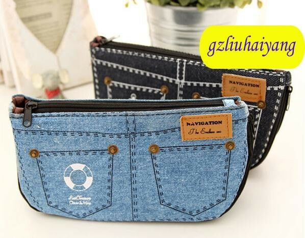 B657 jeans large capacity Students stationery pen bag pencil bags case