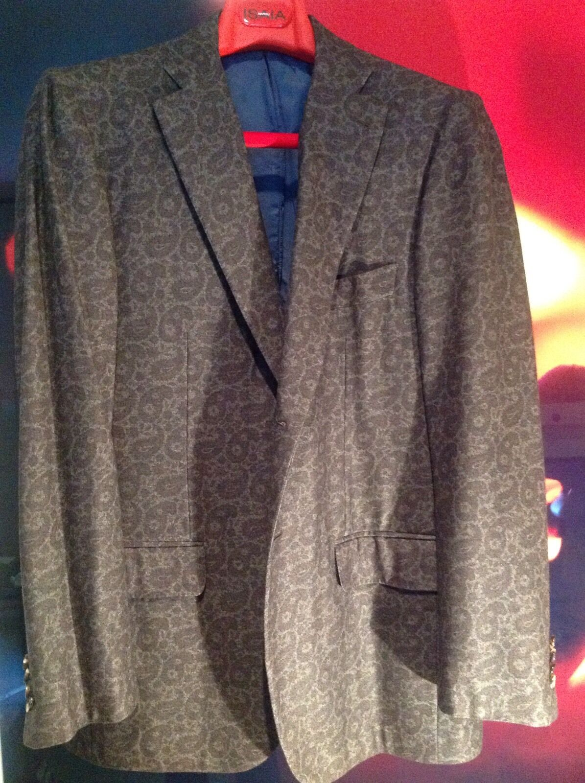 ISAIA NAPOLI - TWO BUTTON SUPER 100's BROWN GREY PAISLEY SPORT COAT SIZE 50R