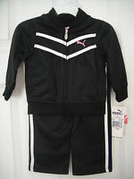 PUMA NWT Girl 2PC Track Suit Jacket Pant Top Warm Up Polyester Black White 2 3 4