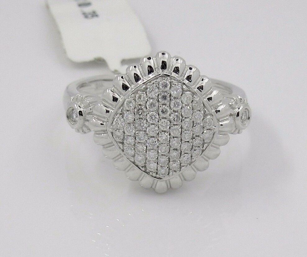 14k Solid White gold Pave Diamond Ring