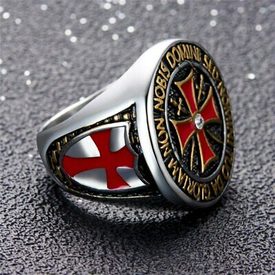Men Crusader Templar Cross Christian Rings 316L Stainless ...