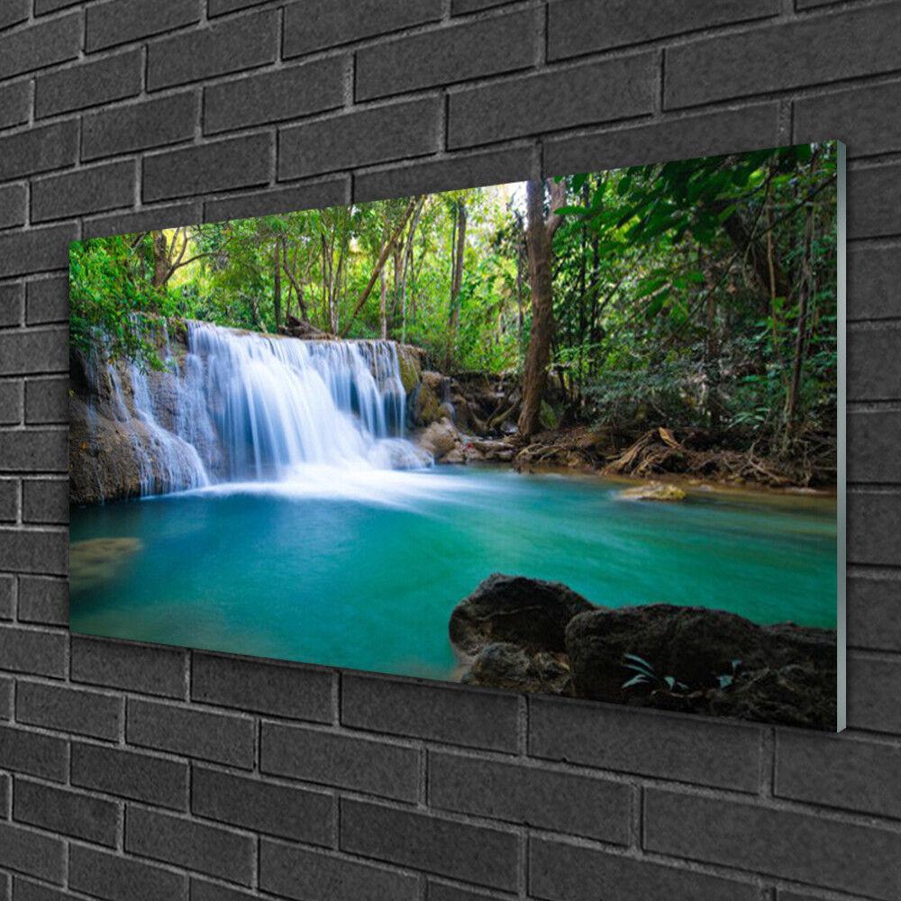 Acrylique Print Wall Art Image 100x50 Photo Cascade Lac Forêt Nature