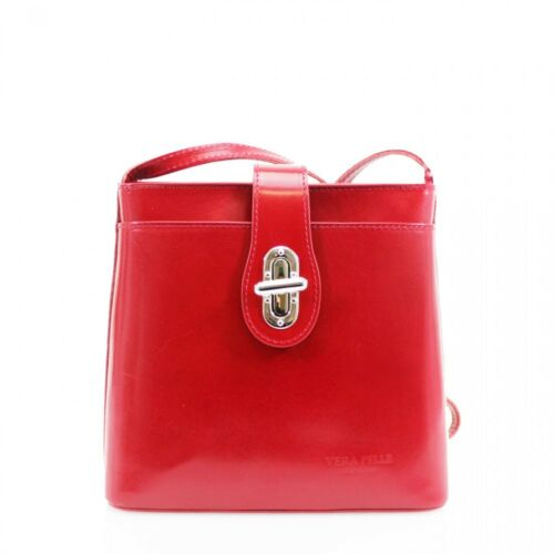 Women Square Vera Pelle Leather Cross Body Bag Twist Lock Ladies Shoulder Bag