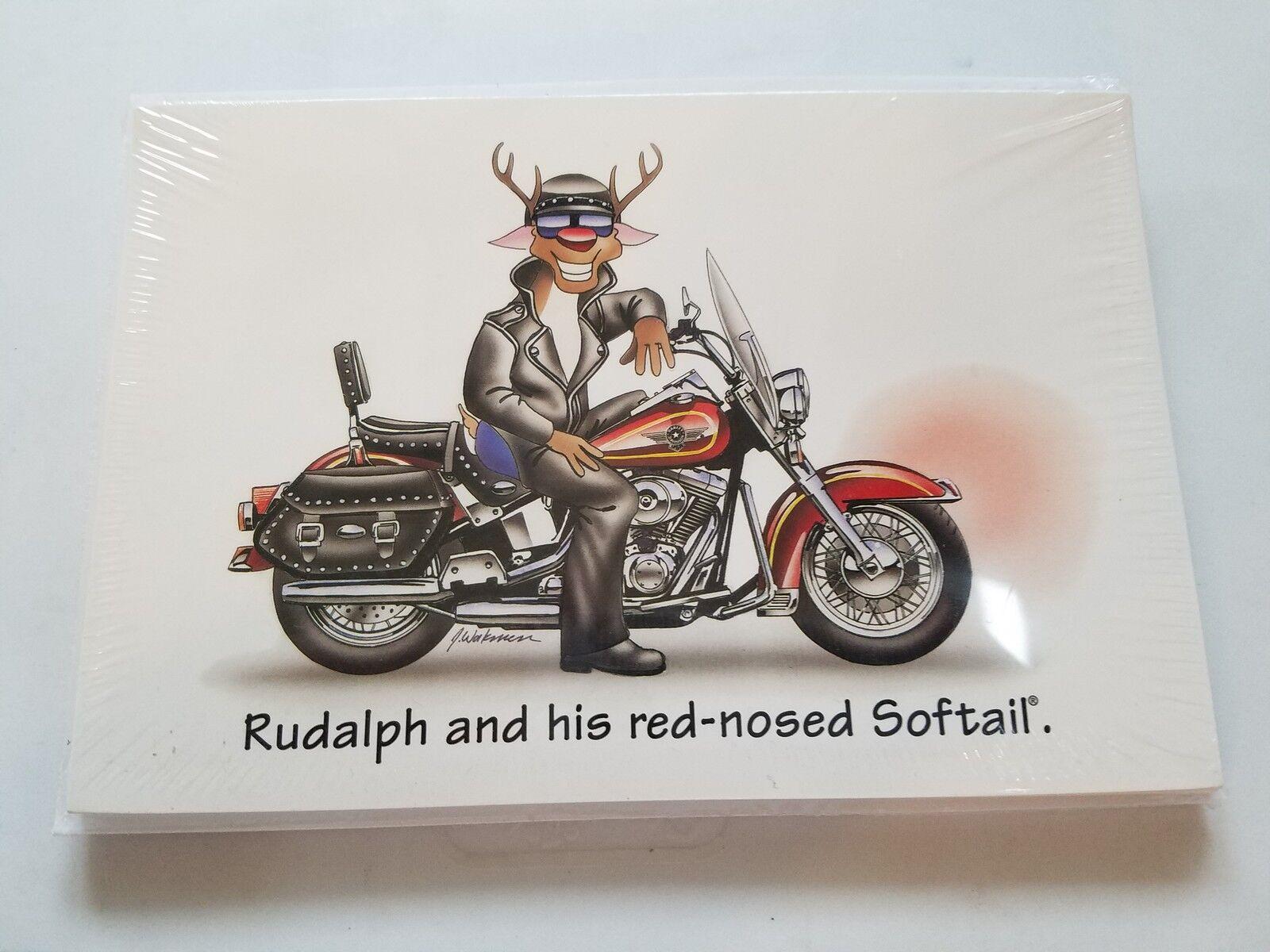 HARLEY DAVIDSON CHRISTMAS CARDS  X482 HARLEY RUDOLPH ON SOFTAIL HARLEY (100PK)