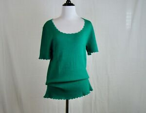 Ann Taylor LOFT Green Short Sleeve Scoop Neck Stretch Pullover Top NEW NWT - L