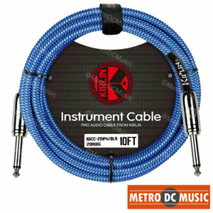Kirlin-10ft-Blue-Woven-Guitar-Bass-Instrument-Cord-Cable-20AWG-1-4-034-Free-Tie-NEW