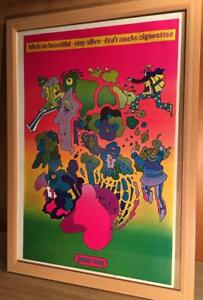 PETER-MAX-ART-POSTER-IN-FRAME-VERY-RARE-VINTAGE-60-039-S-A3-SIZE-COLLECTIBLE-JAPAN