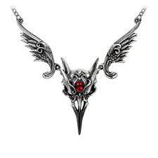 Alchemy Maschera della rosa nera gothic Collana peltro ali di Corvo Teschio Ruby
